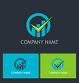check mark business finance company logo vector image vector image