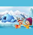christmas scene with reindeer and girl vector image