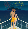 Couple on the ship admiring the fireworks over the vector image vector image