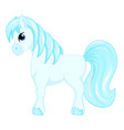 cute cartoon little blue horse blue hair decorate vector image vector image