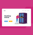 data center landing page template engineer male vector image