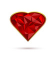 diamond heart in a gold frame vector image vector image