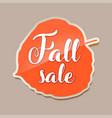 fall sale banner with red fall aspen tree leaf vector image vector image