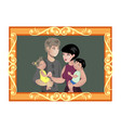 family photo in wooden frame vector image vector image