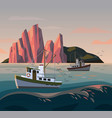 fisherman ship or boat at sunset fishing vector image