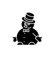 funny snowman black icon sign on isolated vector image