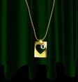 green drape and golden pendant vector image