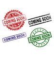 grunge textured coming soon seal stamps vector image