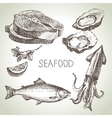 hand drawn sketch set seafood vector image