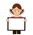 happy girl holding board icon vector image