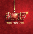 happy new year background with hanging bauble 1510 vector image vector image