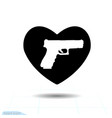 heart black icon love symbol pistol gun vector image
