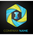 I Letter colorful logo in the hexagonal on black vector image vector image