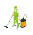 isometric man with a vacuum cleaners various vector image vector image