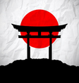 Japan flag as sunrise with japan gate vector image