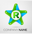 letter r logo symbol in the colorful star on grey vector image vector image