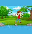 little boy fishing on the lake vector image vector image