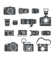 Modern and retro photo technics silhouettes vector image vector image