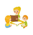 mom reading a book to her little kids family vector image vector image