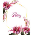 pink lily flowers watercolor wedding vector image vector image