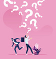 question marks falling on a businessman vector image