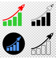 rocket bar chart eps icon with contour vector image