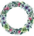 round floral frame wreath with tropical plants vector image