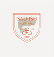 salmon fish logo seafood label badge vector image vector image