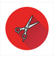 scissors icon on circle background vector image vector image