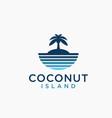 sea and coconut island logo icon template vector image