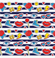 seamless pattern with stripes and colorful patches vector image vector image