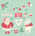 set christmas and new year cute hand drawn vector image