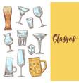 set of different drink beverage glasses stemware vector image vector image