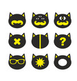 set of fantastic cats in retro style vector image
