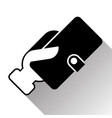 silhouette hand holding wallet purse icon vector image