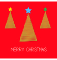 Three fir Christmas tree set with star Scribble vector image vector image