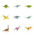 types of dinosaur icons set flat style vector image vector image