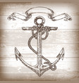 vintage anchor graphic on wooden background hand vector image vector image
