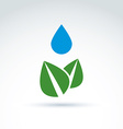 Water drop above leaves icon floral life ecology vector image
