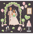 wedding decoration in cream color vector image vector image