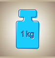 weight simple sign sky blue icon with vector image