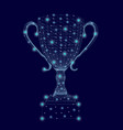 wireframe winning cup with glowing lights vector image vector image
