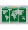 world map business cards set green knitting vector image vector image
