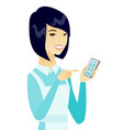 young asian cleaner holding a mobile phone vector image vector image