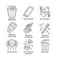 zero waste swaps handmade linear icons set vector image vector image