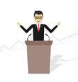 cartoon businessman talking on podium vector image