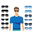 set of different glasses on white vector image