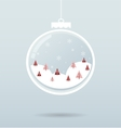 snow ball with snowflakes and trees inside vector image