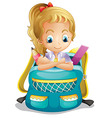 A school girl inside a schoolbag vector image vector image