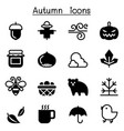 autumn fall icon set vector image